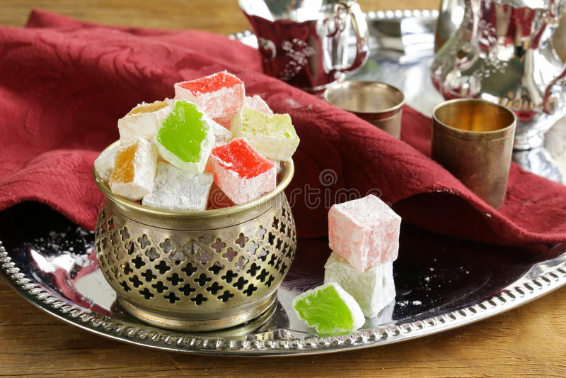 Turkish delight dessert (rahat lokum). Different colors royalty free stock image