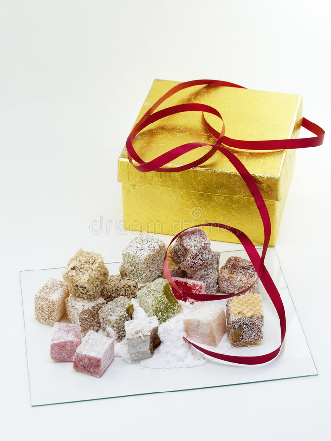 Turkish delight with gift box stock photos