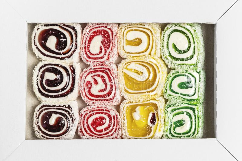 Turkish delight. Lokum. Sweet candies in the box. Cezerye or lokum. Tasty background texture, healthy teeth stock photography