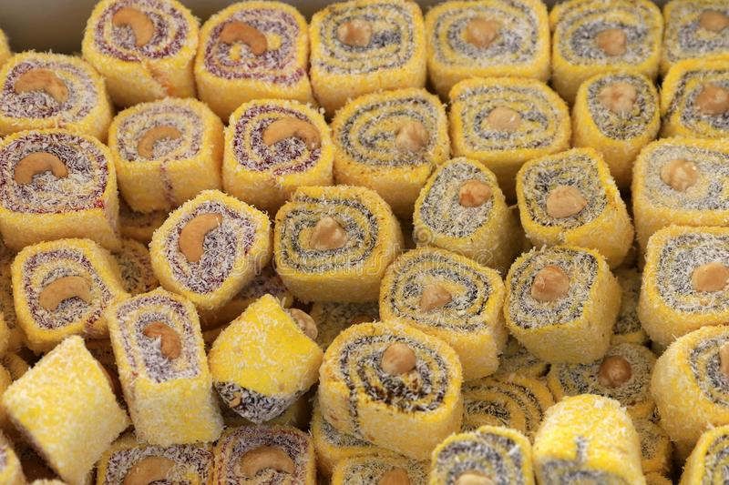 Turkish delight. Lokum. Sweet candies with nuts. stock photo