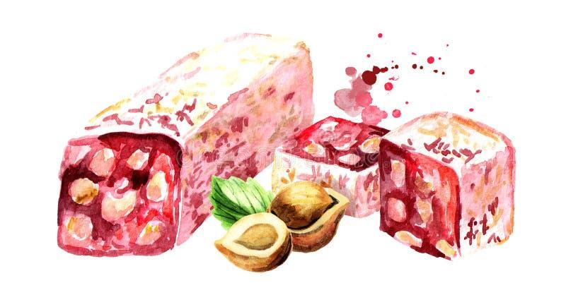 Turkish delight. Rahat lokum and hazelnut. Watercolor hand drawn illustration, isolated on white background stock illustration