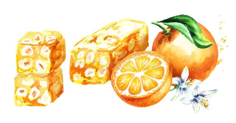 Turkish delight. Rahat lokum and orange. Watercolor hand drawn illustration, isolated on white background. stock illustration