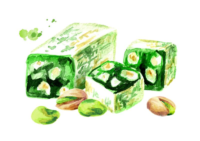 Turkish delight. Rahat lokum and pistachios. Watercolor hand drawn illustration, isolated on white background. stock illustration
