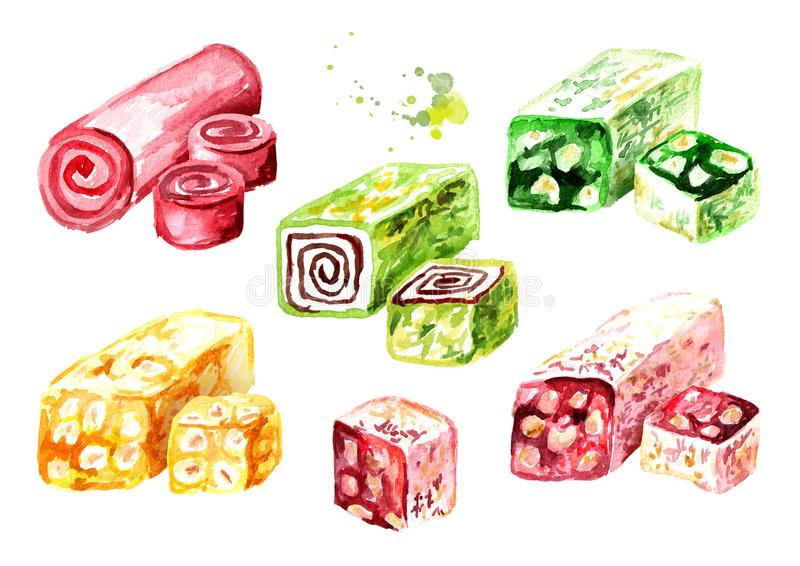 Turkish delight set. Watercolor hand drawn illustration, isolated on white background vector illustration