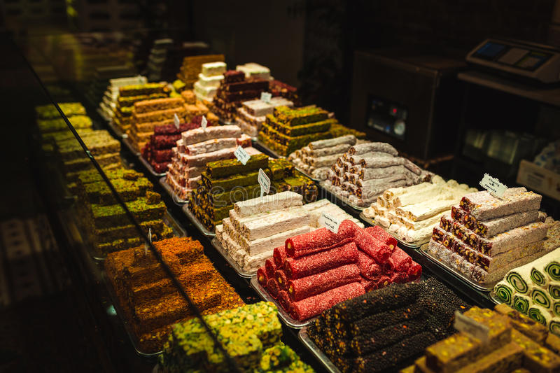 Turkish delight, sweets, candy shop grand bazaar Istanbul. Turkish delight, candy, candy shop Grand Bazaar Istanbul. Sweet food stock image