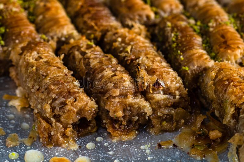 Turkish delights, baclava at a street food festival.  stock photography