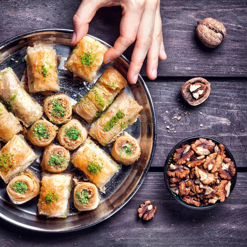 Free Turkish Delights Baklava On Wooden Table Stock Photos - 62379523