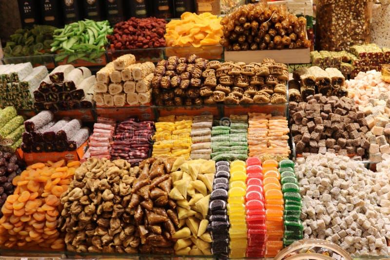 Turkish delights in Egyptian spice bazaar in Istanbul, Turkey. stock image