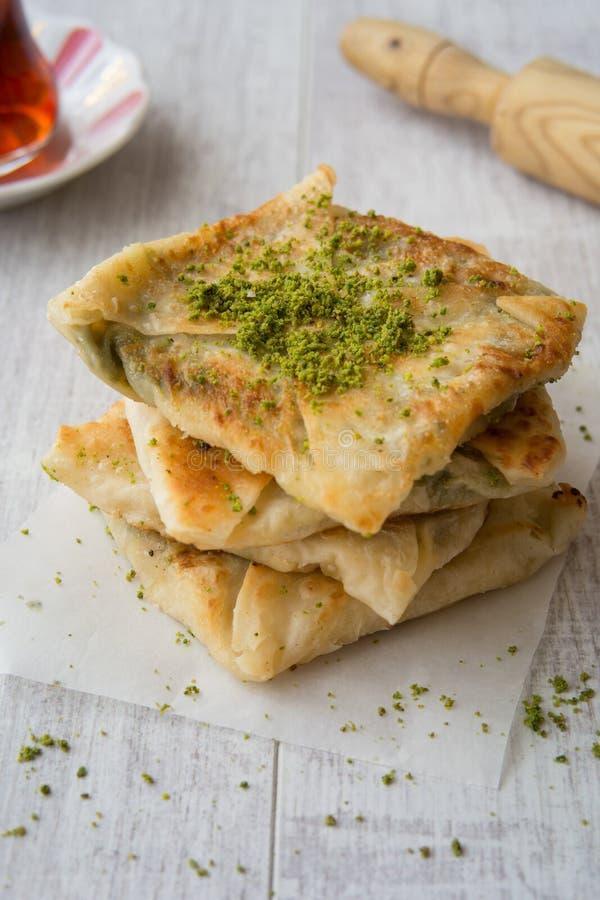 Free Turkish Dessert Katmer With Pistachio Powder And Tea Royalty Free Stock Photo - 77929685