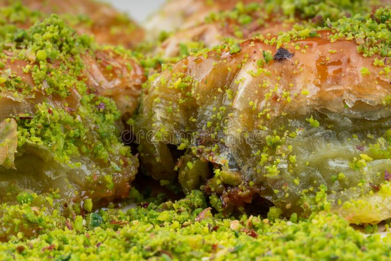 Turkish dessert sobiyet baklava. With pistachio royalty free stock image