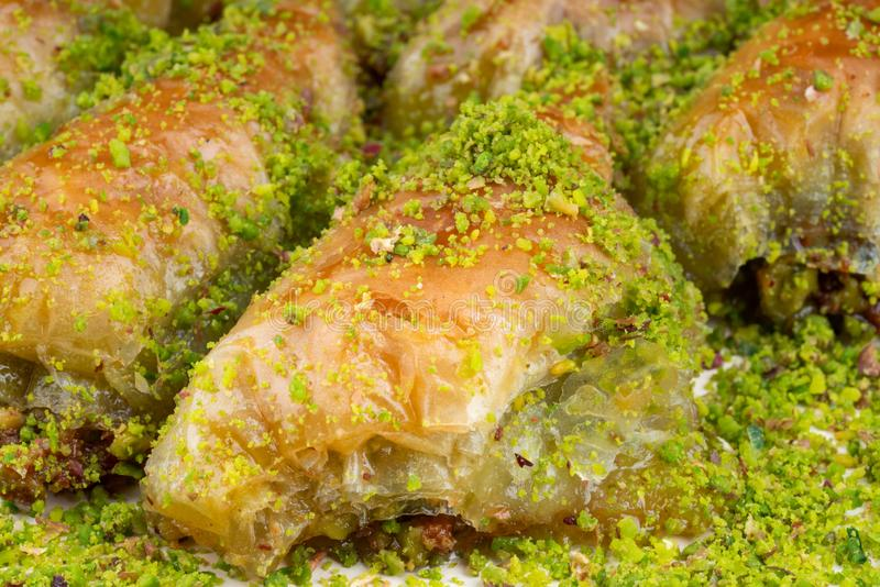 Turkish dessert sobiyet baklava. With pistachio royalty free stock photography