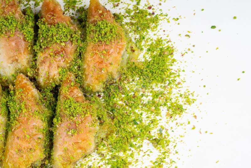 Turkish dessert sobiyet baklava. With pistachio royalty free stock photo