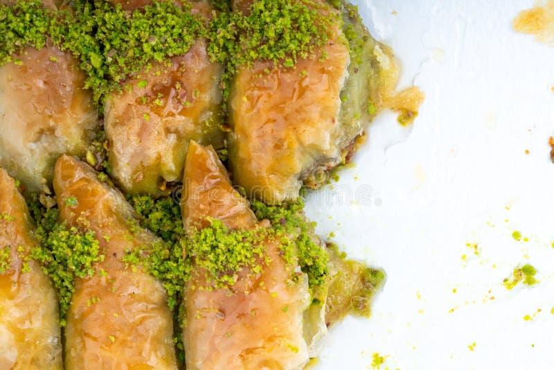 Turkish dessert sobiyet baklava. With pistachio royalty free stock photos