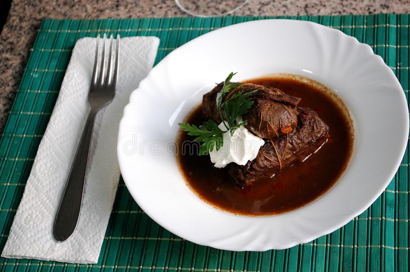 Turkish dish dolma, sarma. Turkish dish dolma sarma, rice with meat wrapped in grape leaves in the plate royalty free stock photo