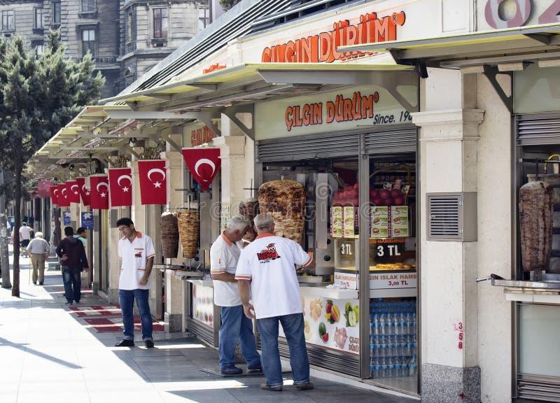 Turkish doner, kebap and hamburger places royalty free stock photography