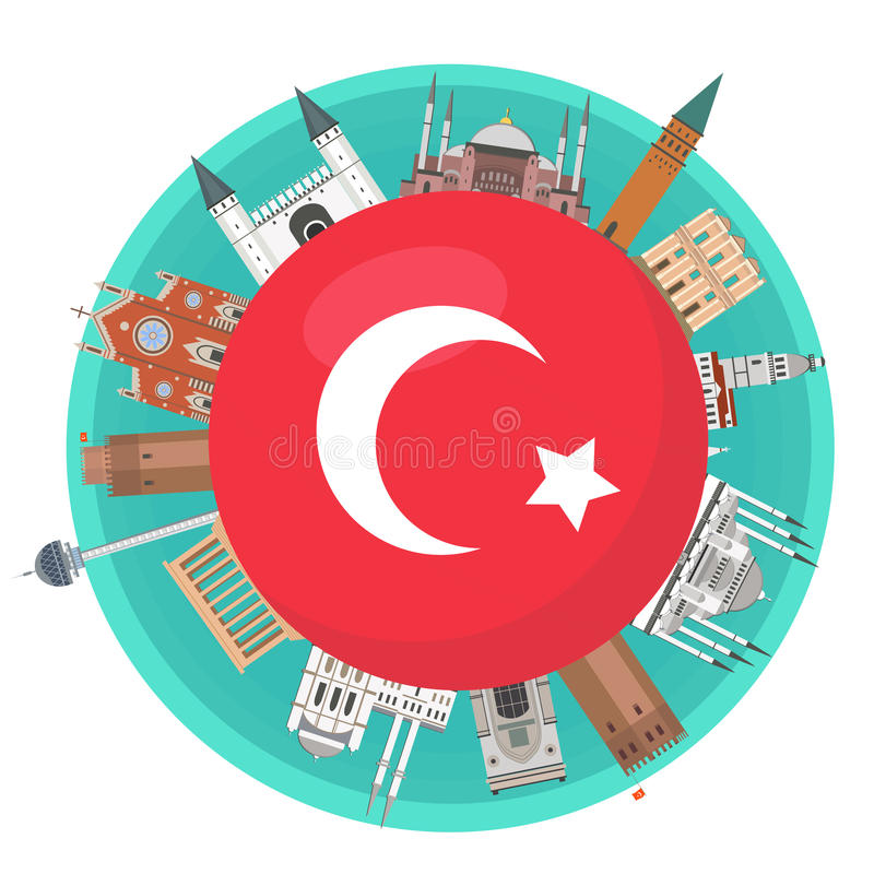 Turkish famous landmarks around the flag of Turkey royalty free stock photos