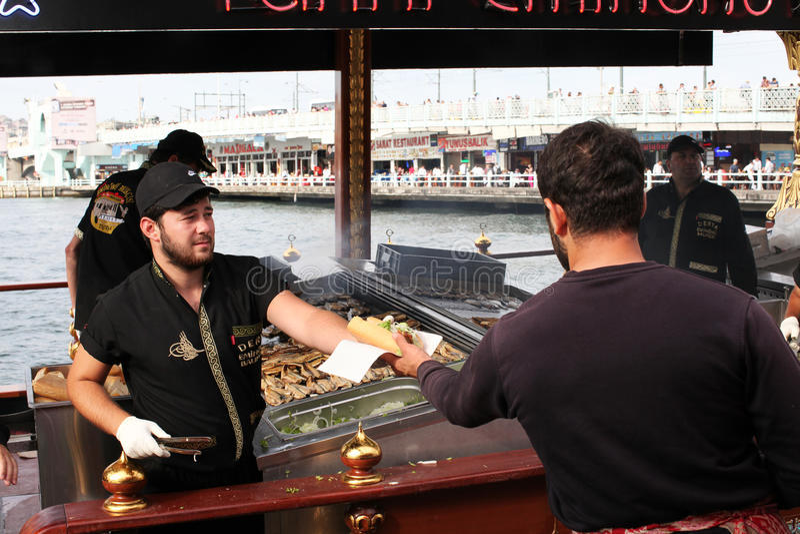 Turkish fish burgers in Eminonu stock photo