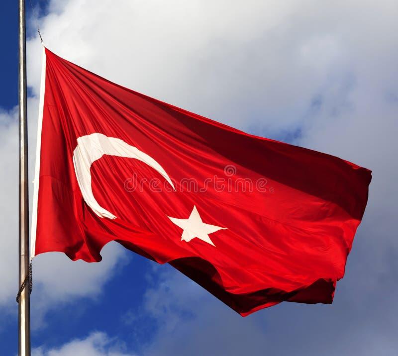 Turkish flag on flagpole stock images