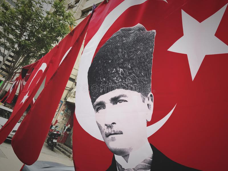 Turkish red flag with Ataturk. royalty free stock photography