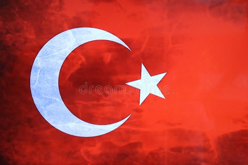 Turkish flag. Turkish red flag with white star and moon. National flag of Turkey. vector illustration