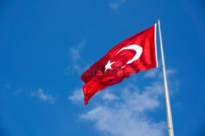 Turkish Flag,. Turkish flag and sky. Flag and blue sky stock image