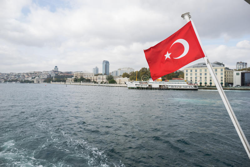 Turkish flag waving stock photo