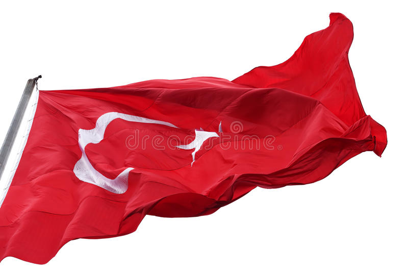 Turkish flag waving in wind royalty free stock images