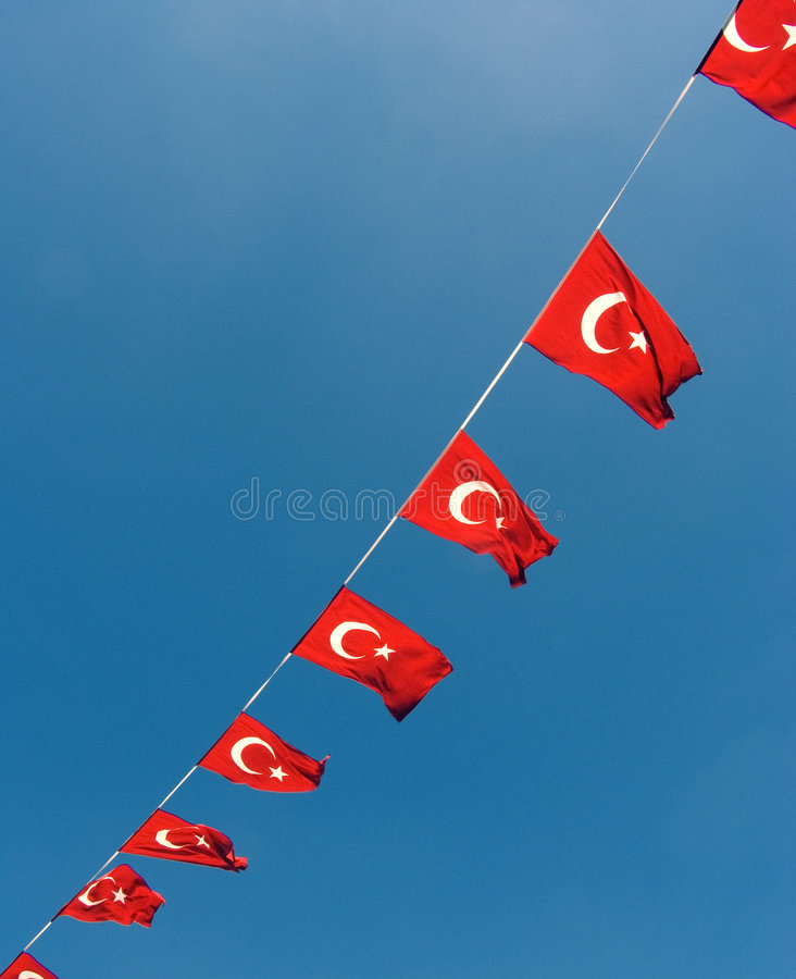 Turkish flags. Waving in the wind stock photo