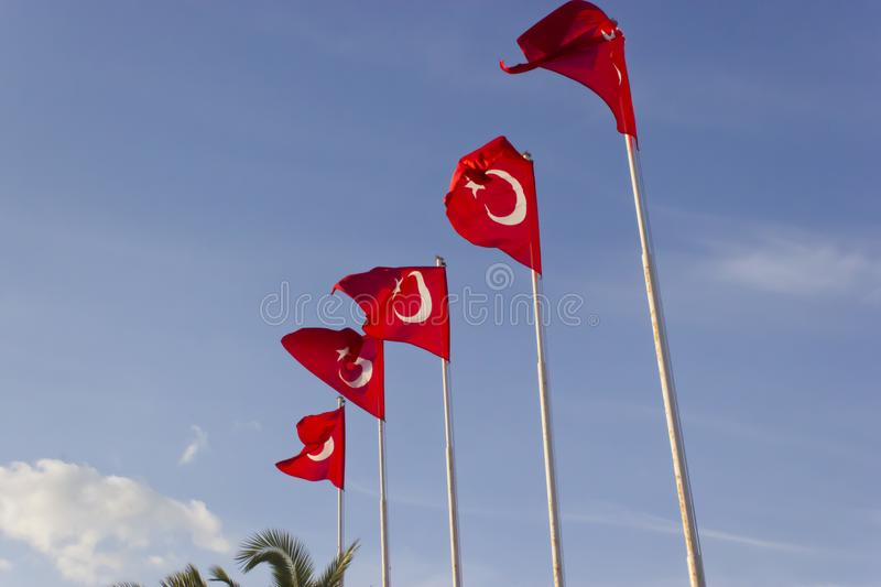 The Turkish flags that are sent out are fluctuating. Photo of the Turkish flags that are sent out are fluctuating royalty free stock photo