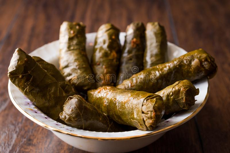 Turkish Food Dolma Stuffed Grape Leaves with Minced Meat, Rice and Tomato Paste / Sarma. royalty free stock images