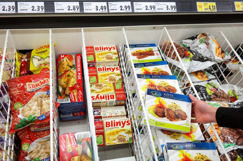Turkish food in a German Store stock image