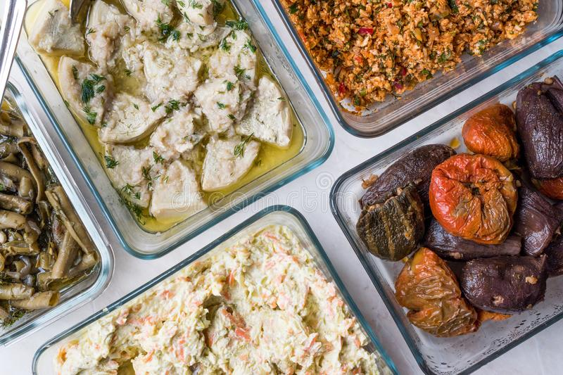 Turkish Food with Olive Oil Kisir, Dolma, Artichoke, Broad Beans and Carrot Salad with Yogurt. stock photography