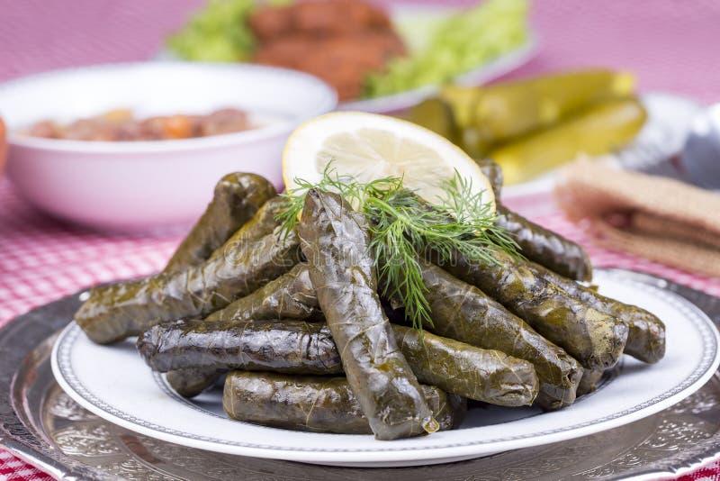 Turkish foods; stuffed leaves yaprak sarma dolma. Traditional Turkish foods; Sarma, stuffed grape leaves in a plate, traditional turkish cuisine stock images