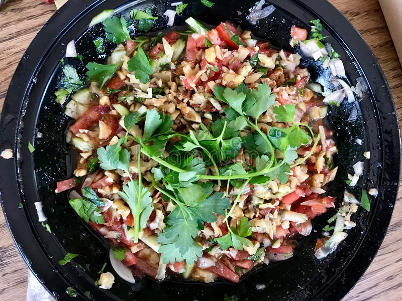Turkish Gavurdagi Salad with Walnut. Coban or Choban salatasi. Organic Food royalty free stock images