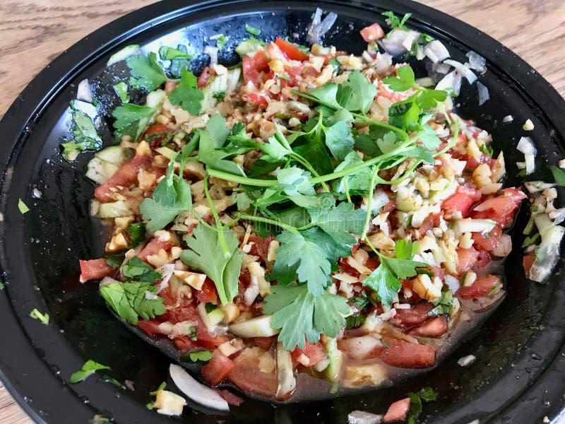 Turkish Gavurdagi Salad with Walnut. Coban or Choban salatasi. Organic Food stock photos