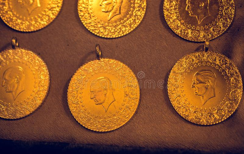 Turkish Gold Coins in view. Turkish Gold Coins with portrait in view stock images