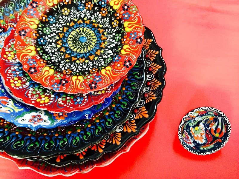 Turkish hand printed plate stock image