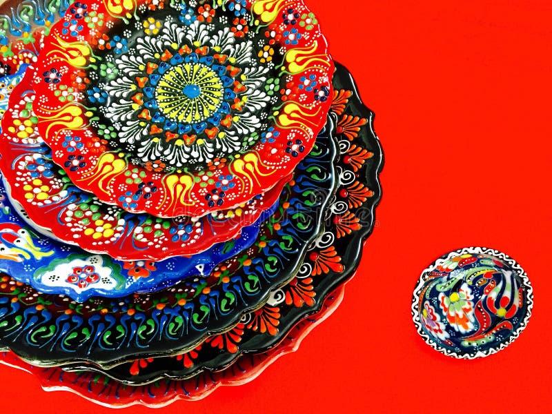 Turkish hand printed plate stock photo