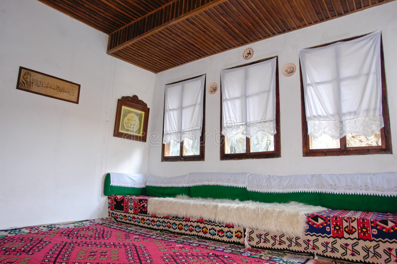 Turkish house interior. Old styled Turkish house interior view stock images