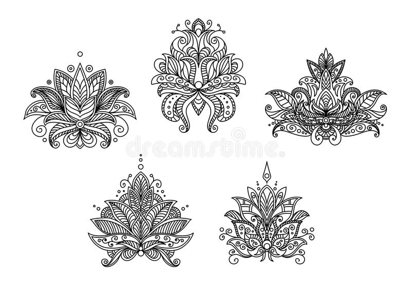 Turkish, indian and persian paisley floral motifs stock illustration