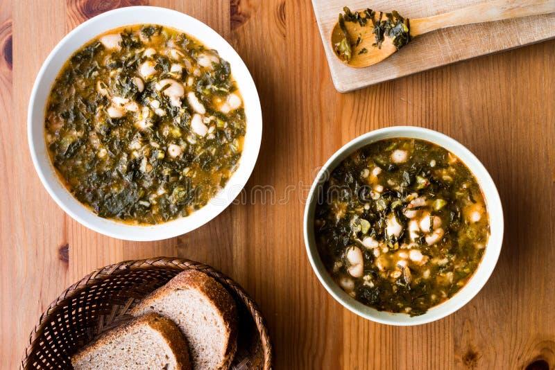 Turkish Kara Lahana corbasi / Black Cabbage or Kale Soup. royalty free stock image