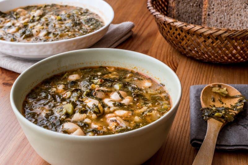 Turkish Kara Lahana corbasi / Black Cabbage or Kale Soup. stock photos