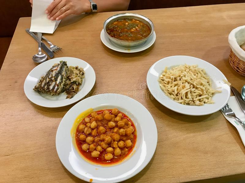 Turkish Karadeniz Food Chickpea, Anchovy Rice, Noodle and Black Cabbage / Kale Soup royalty free stock photo