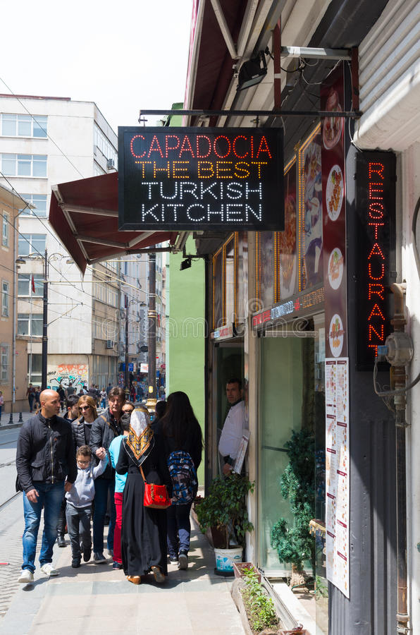 Turkish kitchen sign. Neon sign in front of a restaurant in Istanbul. The dishes are usually based on fresh fruits and vegetables, grilled meat or fish, and many royalty free stock images