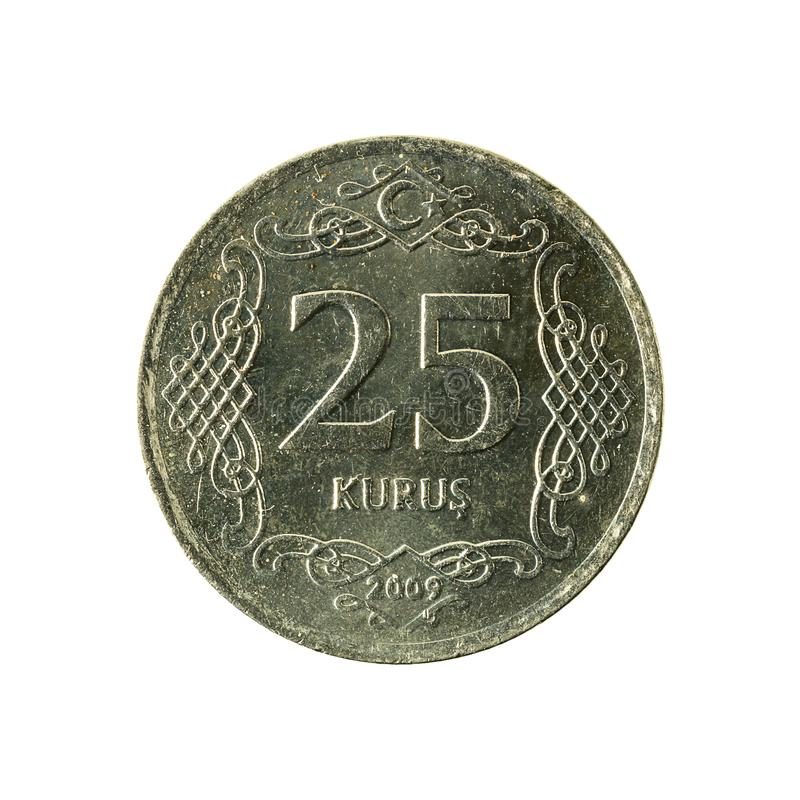 25 turkish kurus coin 2009 obverse. Isolated on white background stock image
