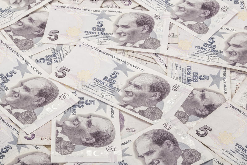 Turkish Lira banknotes as a background royalty free stock images