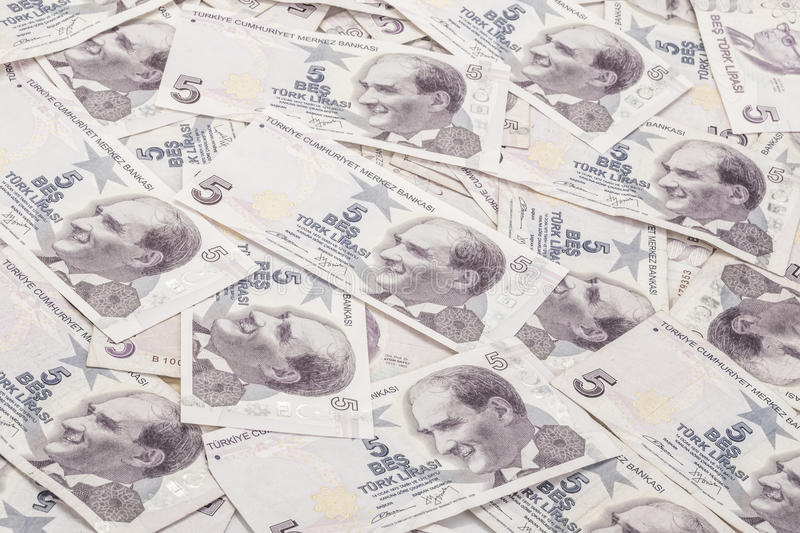 Turkish Lira banknotes as a background stock images