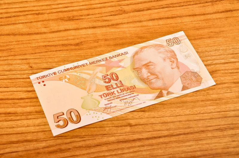 50 Turkish lira banknotes front view royalty free stock photo