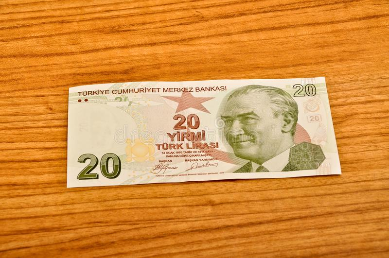 20 Turkish lira banknotes front view stock photography