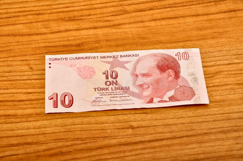 10 Turkish lira banknotes front view stock photo